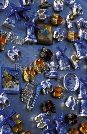 overhead view of ceramic magnet souvenirs