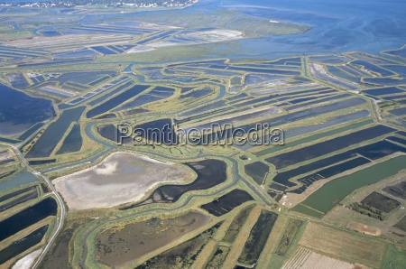 aerial view of mud flats and