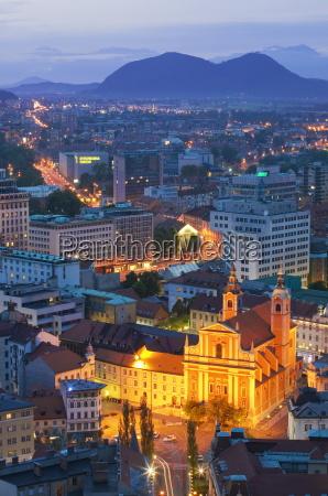 city centre at dusk from ljubljana