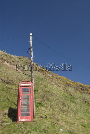 isolated telephone box crovie highlands scotland