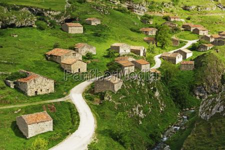 old farmhouses near sotres picos de