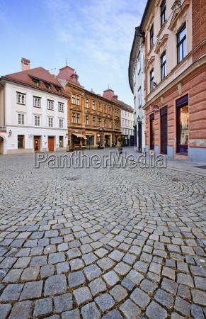 cobbled street in centre of ljubljana