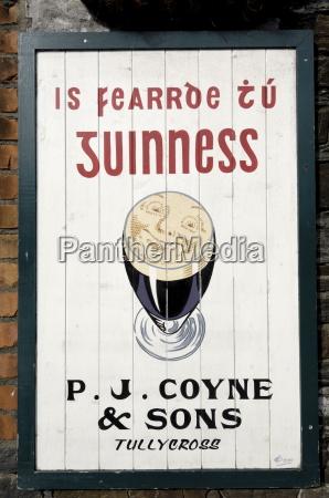 guinness sign in irish speaking gaeltacht