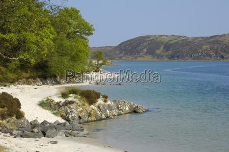 white sandy beach morar highlands scotland
