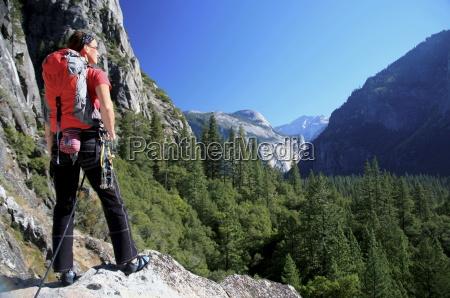 a climber takes a break on