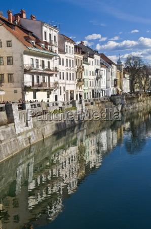 houses along the river ljubljanica in