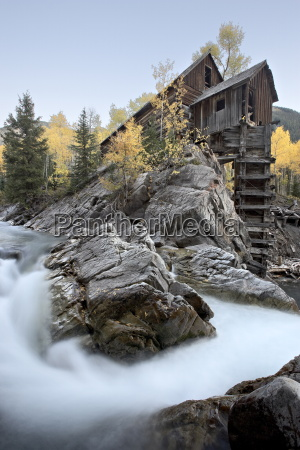 crystal mill with aspens in fall