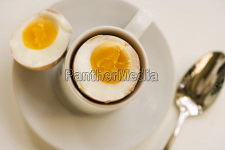 boiled egg on white plate