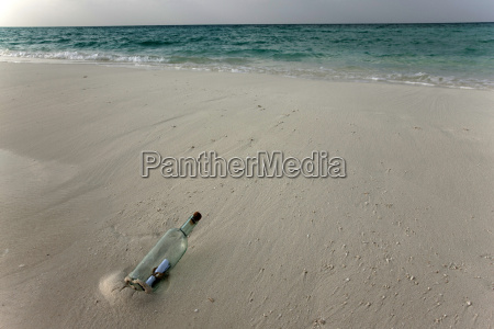 message in a bottle on a