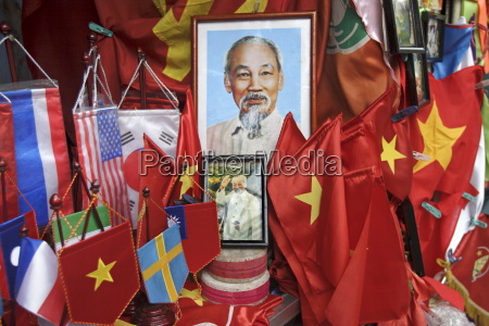 vietnamese flags and portraits of ho