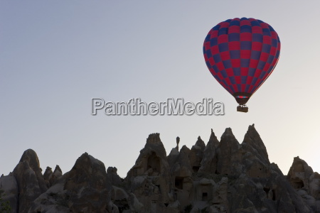 hot air balloon taking off with
