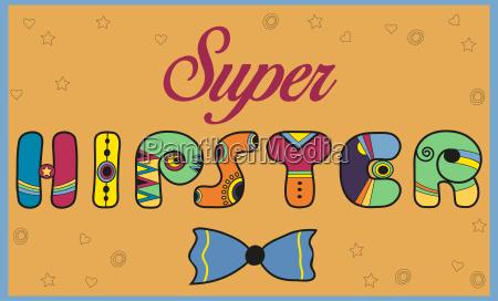 super hipster colorful vintage font