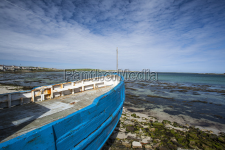 beached fishing boat orkney islands scotland