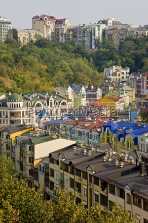 elevated view over colourful buildings with