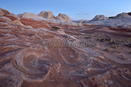 red and white sandstone swirls at