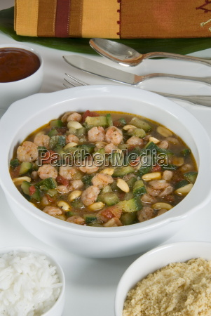 brazilian food caruru de camarao vegetable
