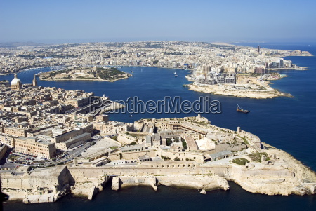 aerial view of valletta and st