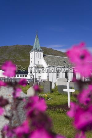 honningsvag church and graveyard honningsvag port