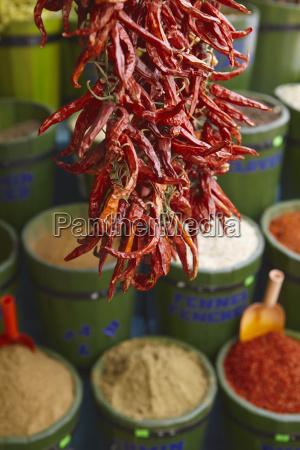 chillies in spice market istanbul turkey