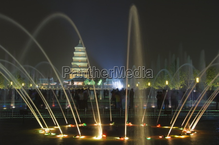 night time water show at the