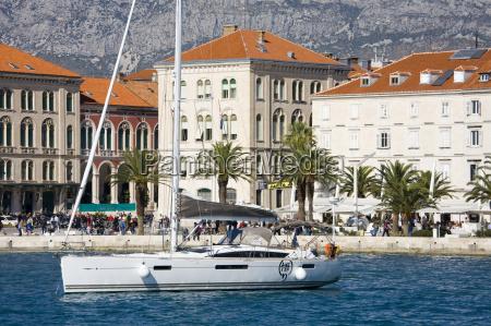 yacht in split harbour dalmatian coast