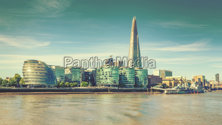 london city skyline and river thames
