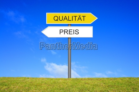 signpost signpost shows quality or price