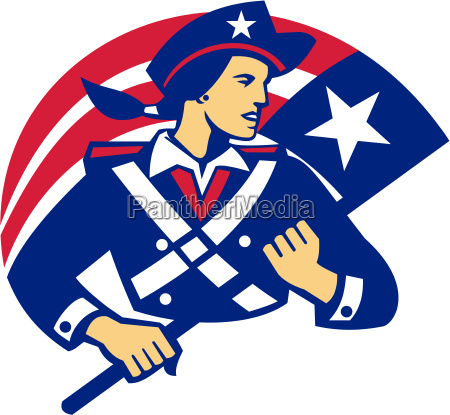 female american minuteman holding flag retro
