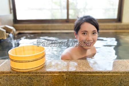 woman enjoy hotsprings