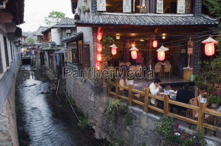 traditional architecture of riverside restaurant in