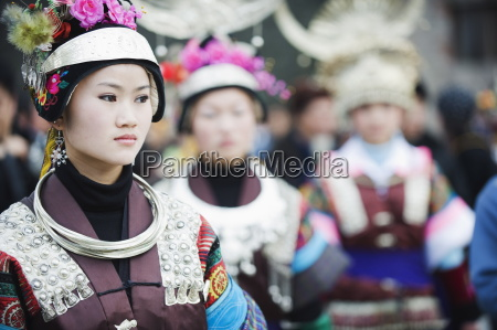women in ethnic costume at a