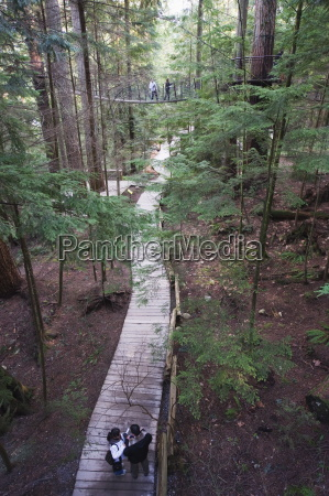 tourists in capilano suspension bridge and