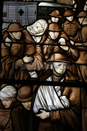 stained glass depicting victims of the