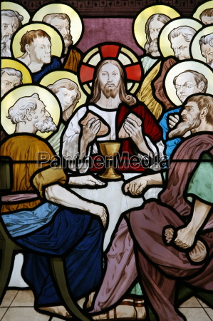 stained glass depicting the last supper