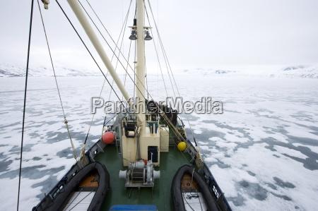 ship crossing pack ice glacier spitsbergen