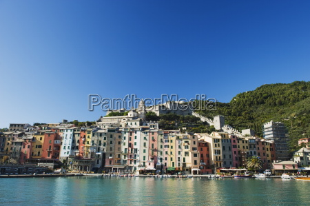 waterfront pastel coloured houses porto venere