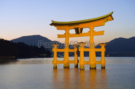 illumination of itsukushima shrine torii gate