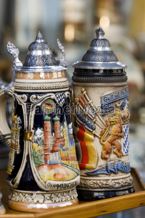traditional beer mugs munich bavaria germany