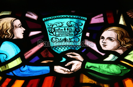 stained glass window showing the romance