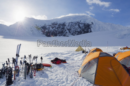 camp 1 climbing expedition on mount