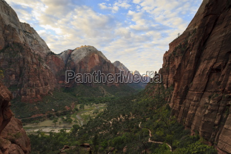 view down zion canyon from trail