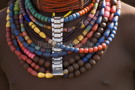 close up of bead necklaces of
