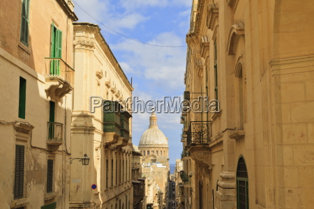view down a narrow street with