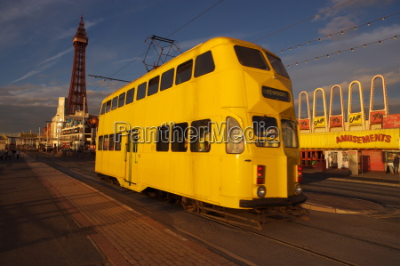 double decker tram and blackpool tower