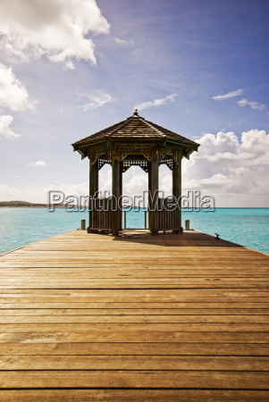 a jetty stretches out into the