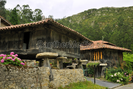 horreo granaries on pillars topped with