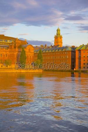 helgeandsholmen at sunset gamla stan stockholm