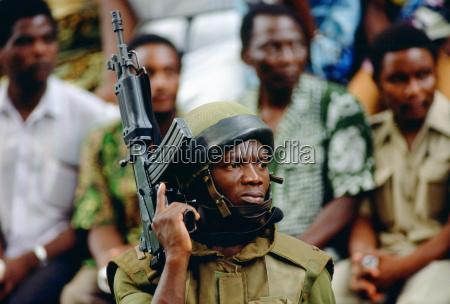 soldier with machine gun in