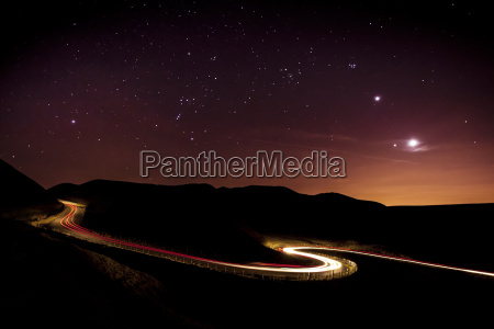 light trails and stars cape with