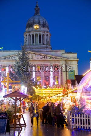 council house and christmas market stalls